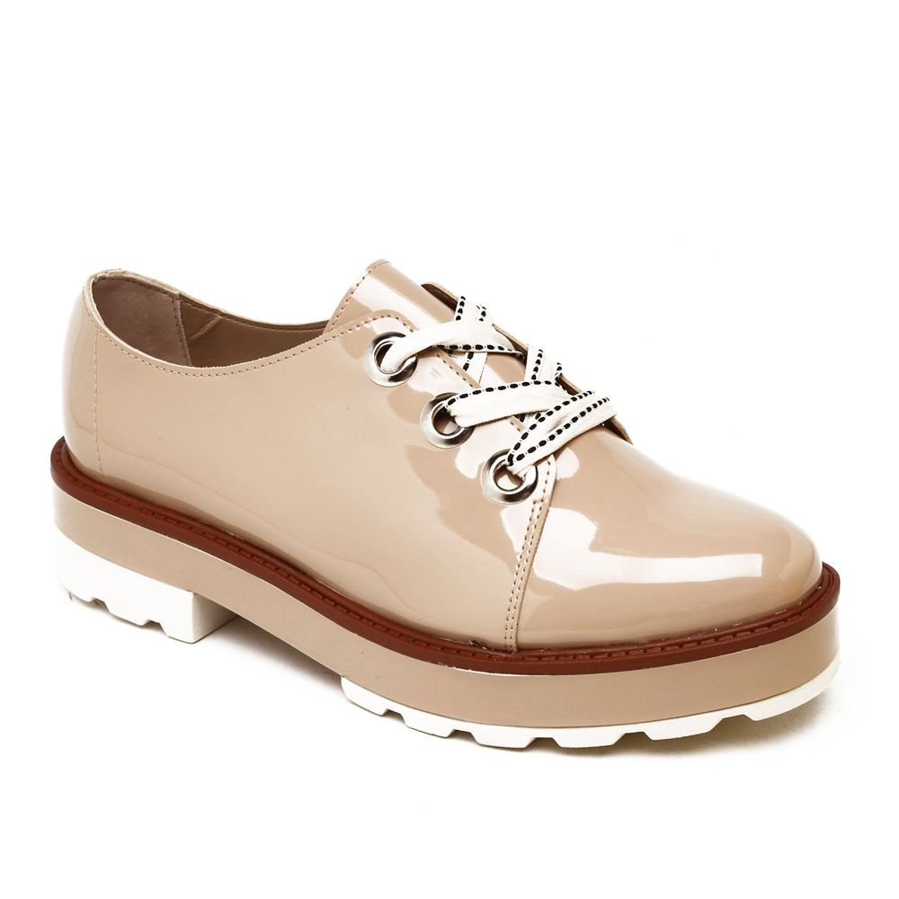 5962c4722 Sapato Oxford Tratorado Moleca Fem 5646.102 Bege - Loja Ito