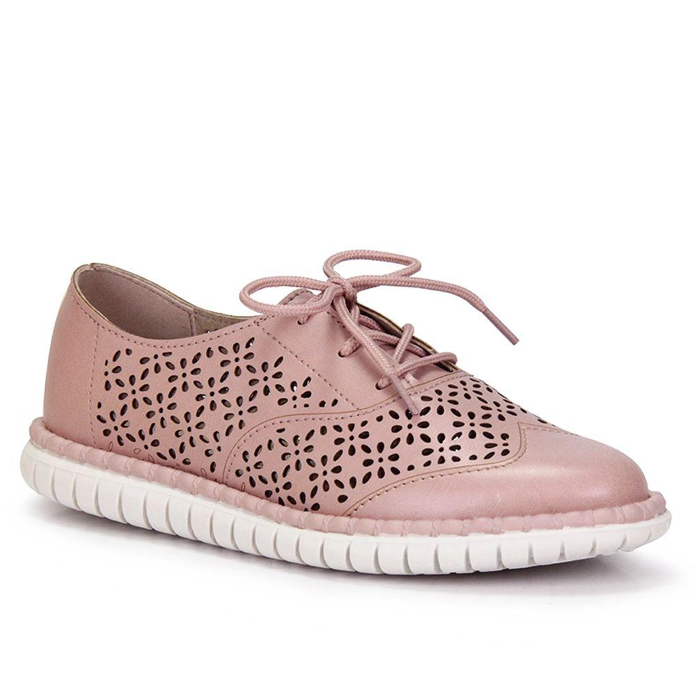 Sapato Oxford Tratorado Moleca fem 5654.101 - rosa