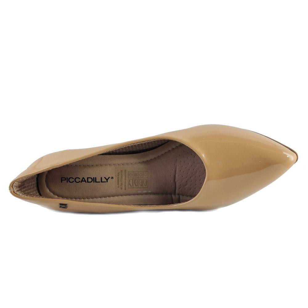 Sapato Scarpin Piccadilly Salto Grosso Liso 746001 - bege