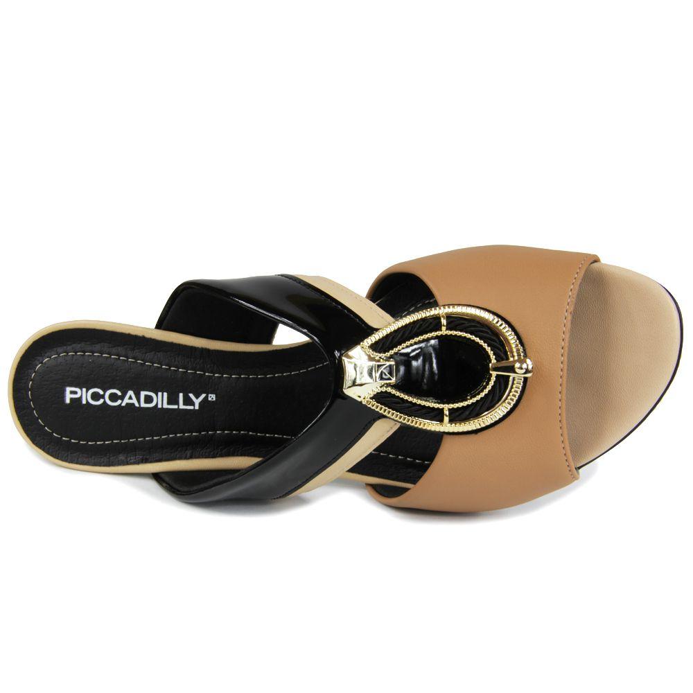 Tamanco Feminino Piccadilly 542086 salto medio com enfeite dourado - joanete