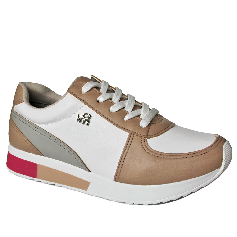 37249c4732 Tênis Feminino Jogging Via Marte 18-17604 - amêndoa bco - Loja Ito