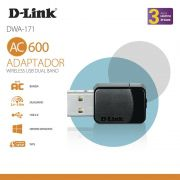 ADAPTADOR D-LINK WIRELESS USB NANO AC600 DUALBAND - DWA-171