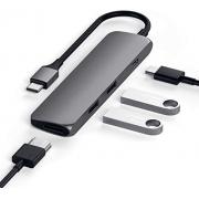 Adaptador Satechi Multi Portas Tipo-c Macbook Usb Hdmi 4k na cor prata