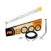 Antena Pix Externa HDTV KIt com Mastro , cabos e conectores 008-9513