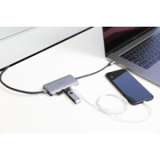 DOCKSTATION USB-C ETHERNET ADAPTER WITH 3X USB-A