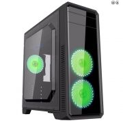 Gabinete Gamer Gamemax ECO G561F Mid Tower Preto + 3 fans Green