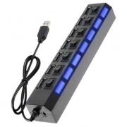 Hub 7 Portas USB 2.0 com Switch On/Off e Led Indicado
