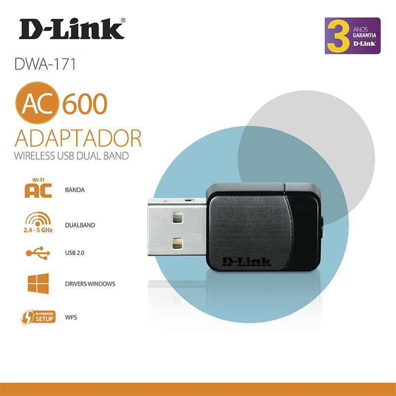 ADAPTADOR D-LINK WIRELESS USB NANO AC600 DUALBAND - DWA-171