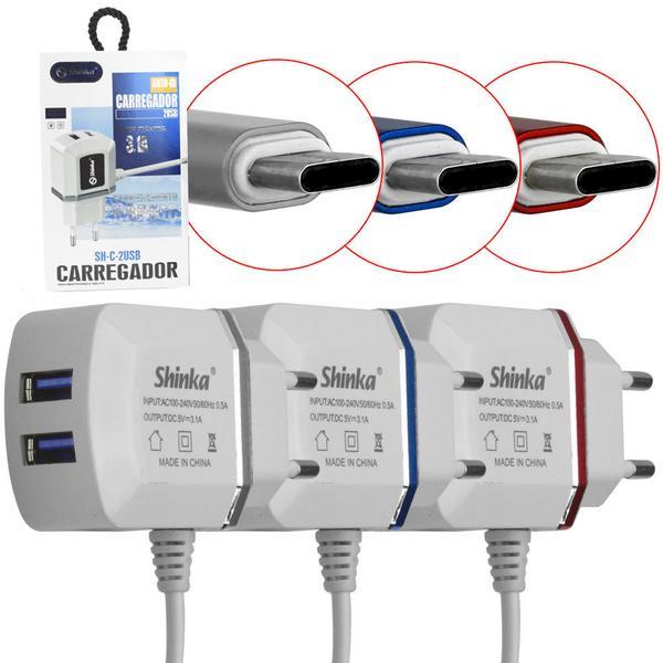 CARREGADOR TYPEC COM 2 USB SHINKA SH-C-2USB 3.1A - SH-C-2USB