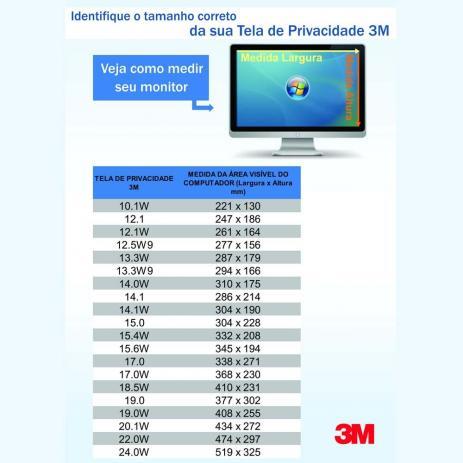 FILTRO DE PRIVACIDADE 23.0W9 HB004312201 - 3M