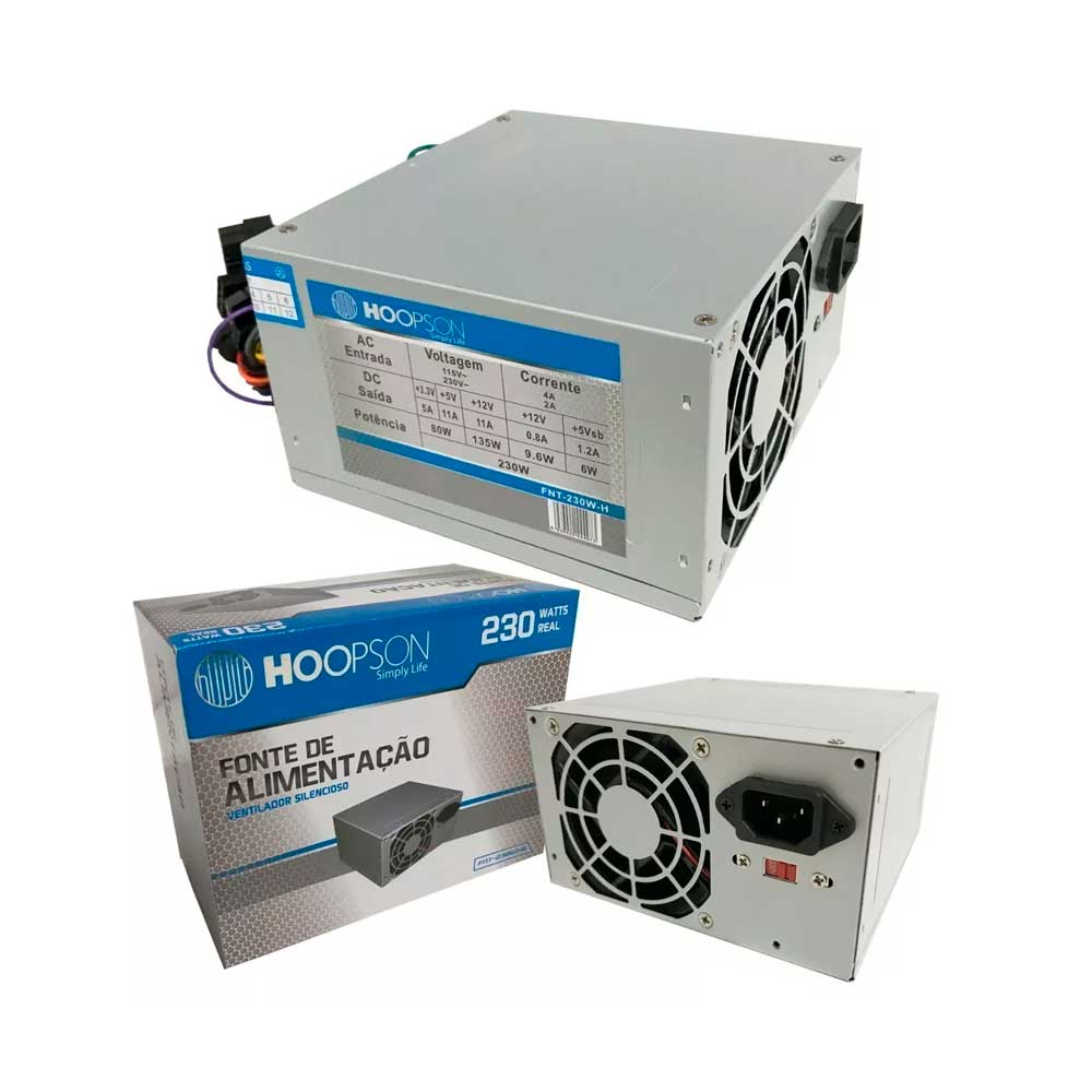 Fonte 230W Hoopson FNT-230W+ Box com Cabo - FNT-230W+
