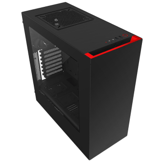 Gabinete NZXT Mid-Tower S340 Preto/Verme Lateral Acrílico CA-S340MB-GR