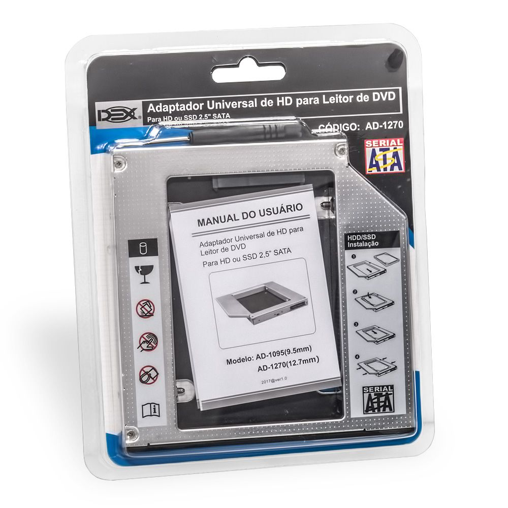 Gaveta Adaptador P/ Segundo Hd e Ssd Sata p/ Notebook Universal 12.7mm