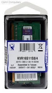 Memória 4GB DDR3 1600 KINGSTON - Para Notebook - KVR16S11S8/4