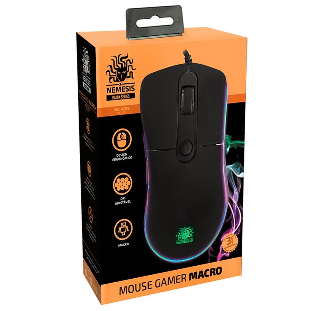 Mouse Gamer Nemesis Black Series, LED, 6 Botões, 4000DPI - 015-0070