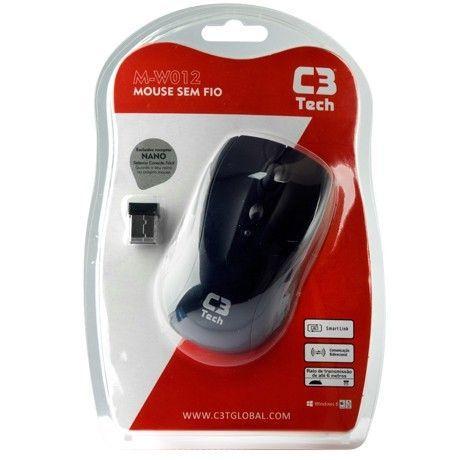 Mouse Óptico Sem Fio C3 Tech M-W012BK Preto - M-W012BK