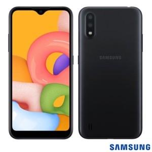 SMARTPHONE  SAMSUNG  A01 32GB PRETO NACIONAL - SM-A015MZKEZTO*