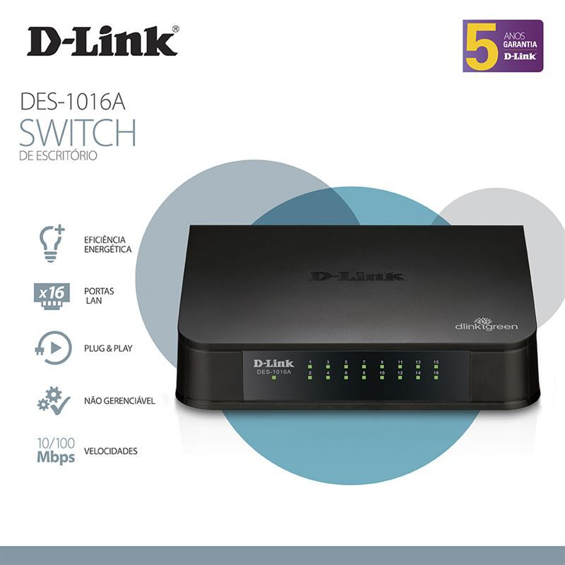 SWITCH D-LINK 16 PORTAS 10/100 FAST-ETHERNET QoS 802. DESKTOP - DES-1016A