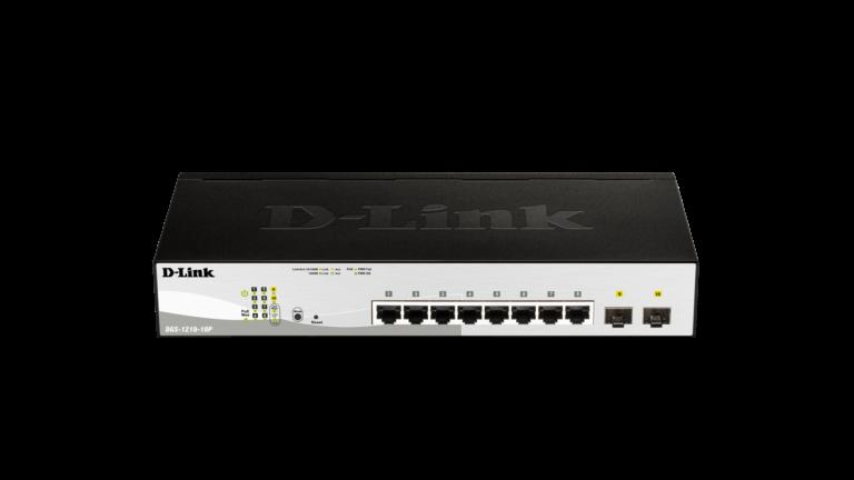 SWITCH D-LINK WEB SMART 8 PORTAS 10/100/1000MBPS POE + 2 PORTAS SFP 100/1000MBPS 65 WATTS - DGS-1210-10P