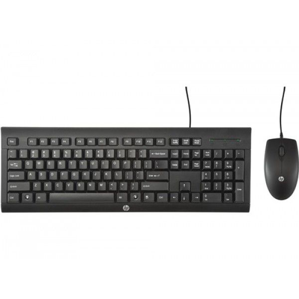 Teclado e Mouse Óptico Com Fio USB HP C2500 Preto - C2500