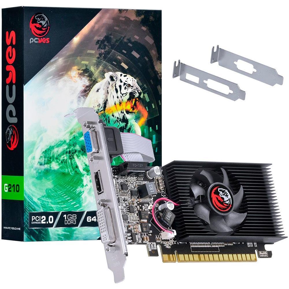 VGA GeForce 1GB GT210 Pcyes DDR3 64Bits Low Profile PA210G6401