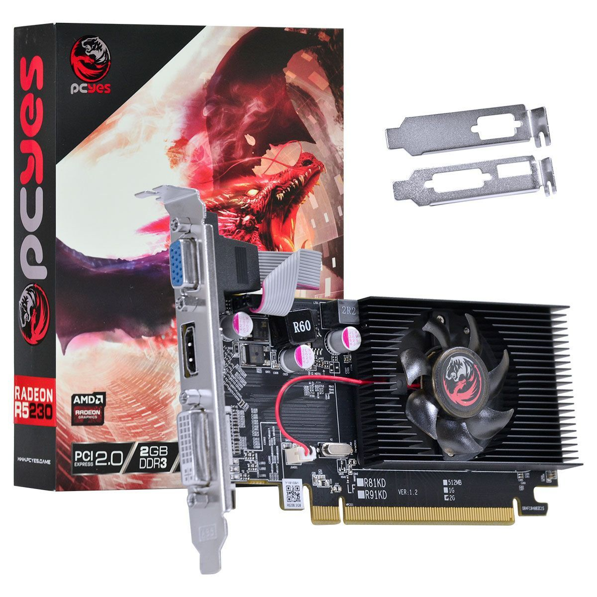 VGA Radeon 2GB R5 230 DDR3 Low Profile Pcyes 64Bits PA230R56402