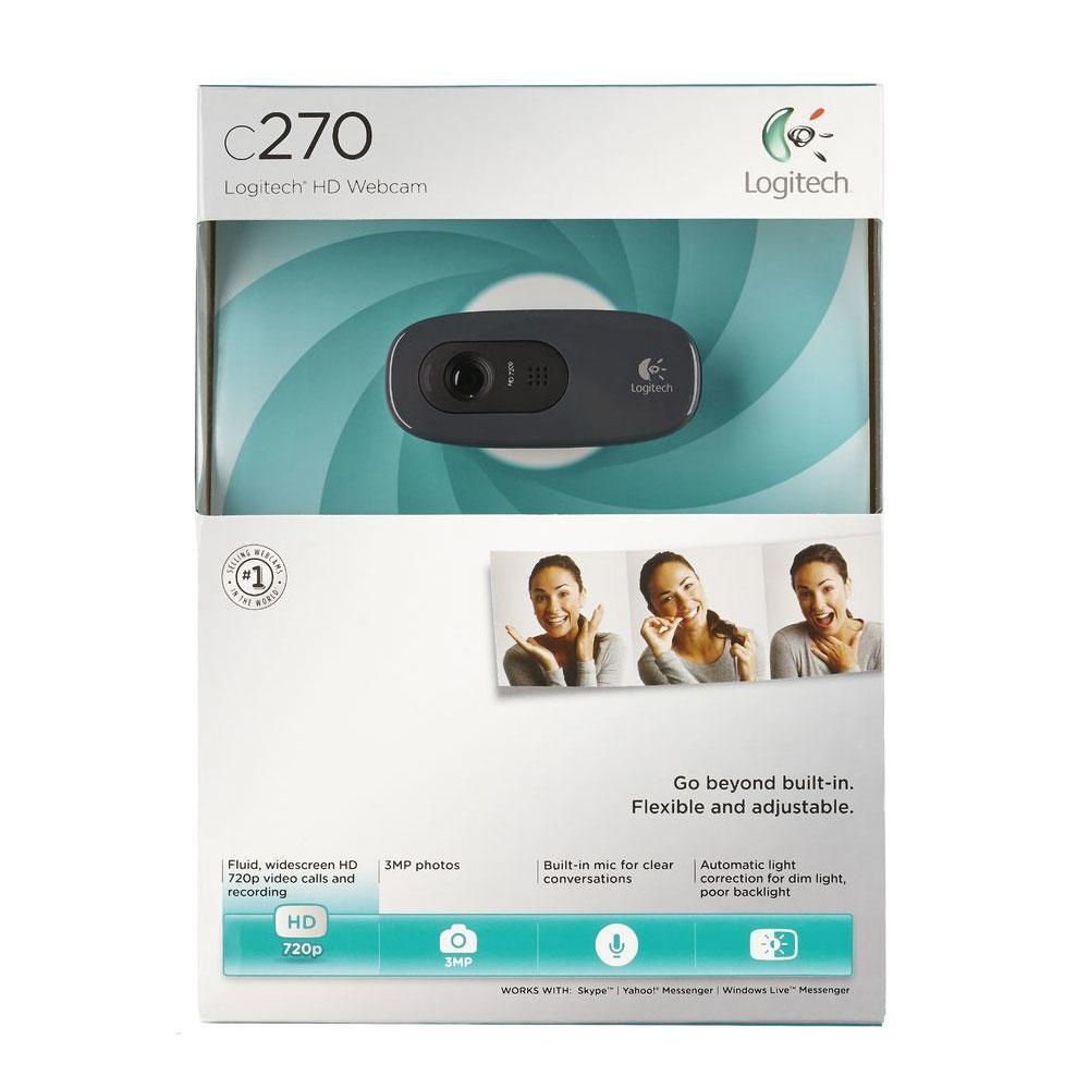 Webcam C270 3.0Mpixel - Videochamadas em HD 720p - com Microfone - 960-000694