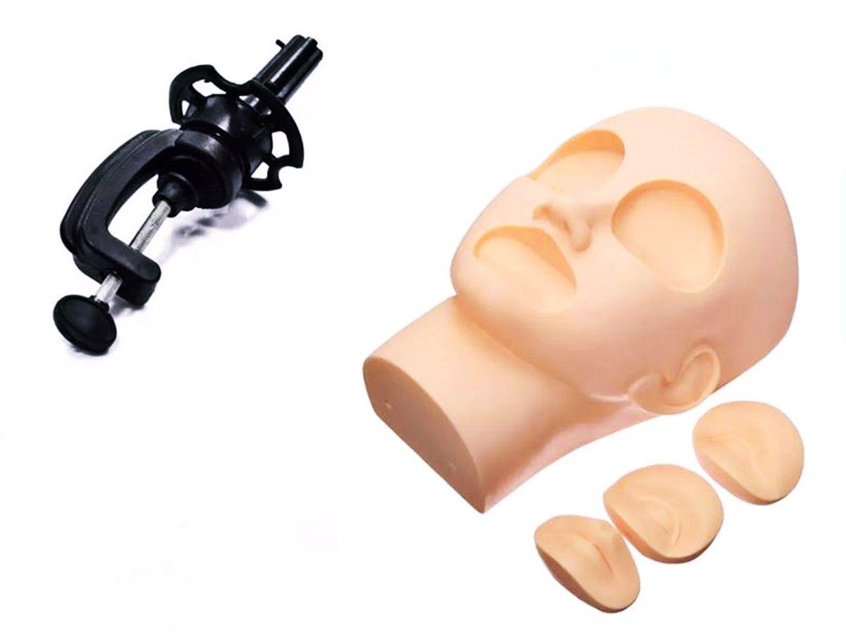 Cabeça De Treino Com Boca e Olhos Removíveis Para Alongamento De Cílios E Maquiagem  Com Suporte
