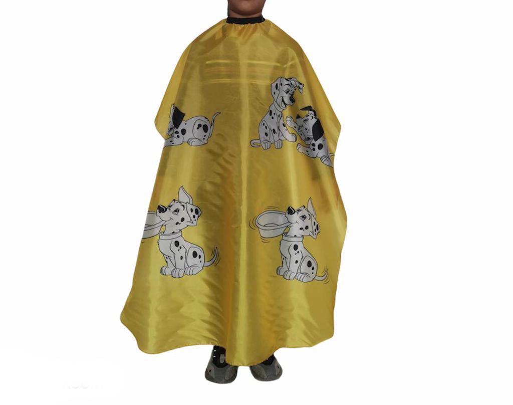 Capa De Corte Infantil Estampada Profissional Barbeiro Cabeleireiro Amarela