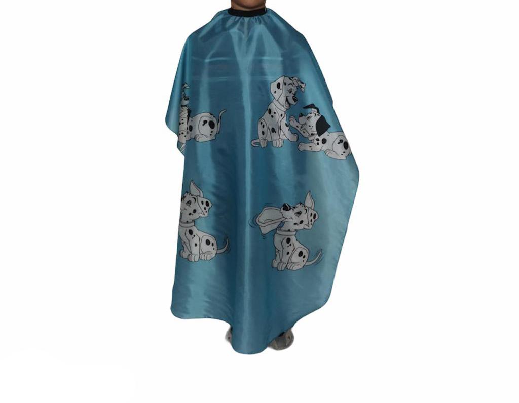 Capa De Corte Infantil Estampada Profissional Barbeiro Cabeleireiro Azul
