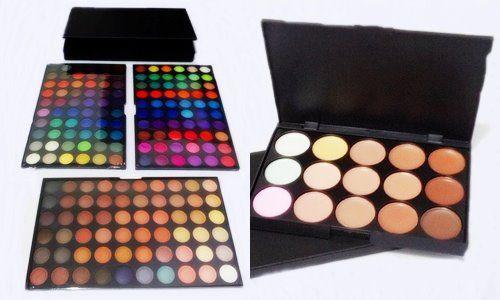 Conjunto de Maquiagem Paleta 180 + Paleta 15 Cores Base E Corretivo