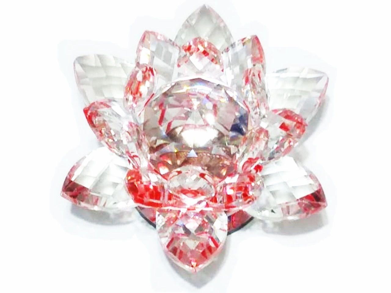 Flor De Lotus Diamante Joia De Cristal Foto Unha Vermelho