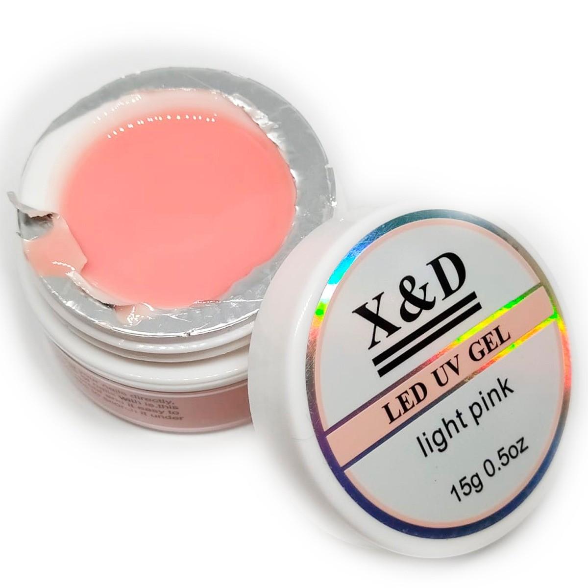 Gel Light Pink Led Uv X&D 15gr X & D Para Unhas Gel e Acrigel X E D