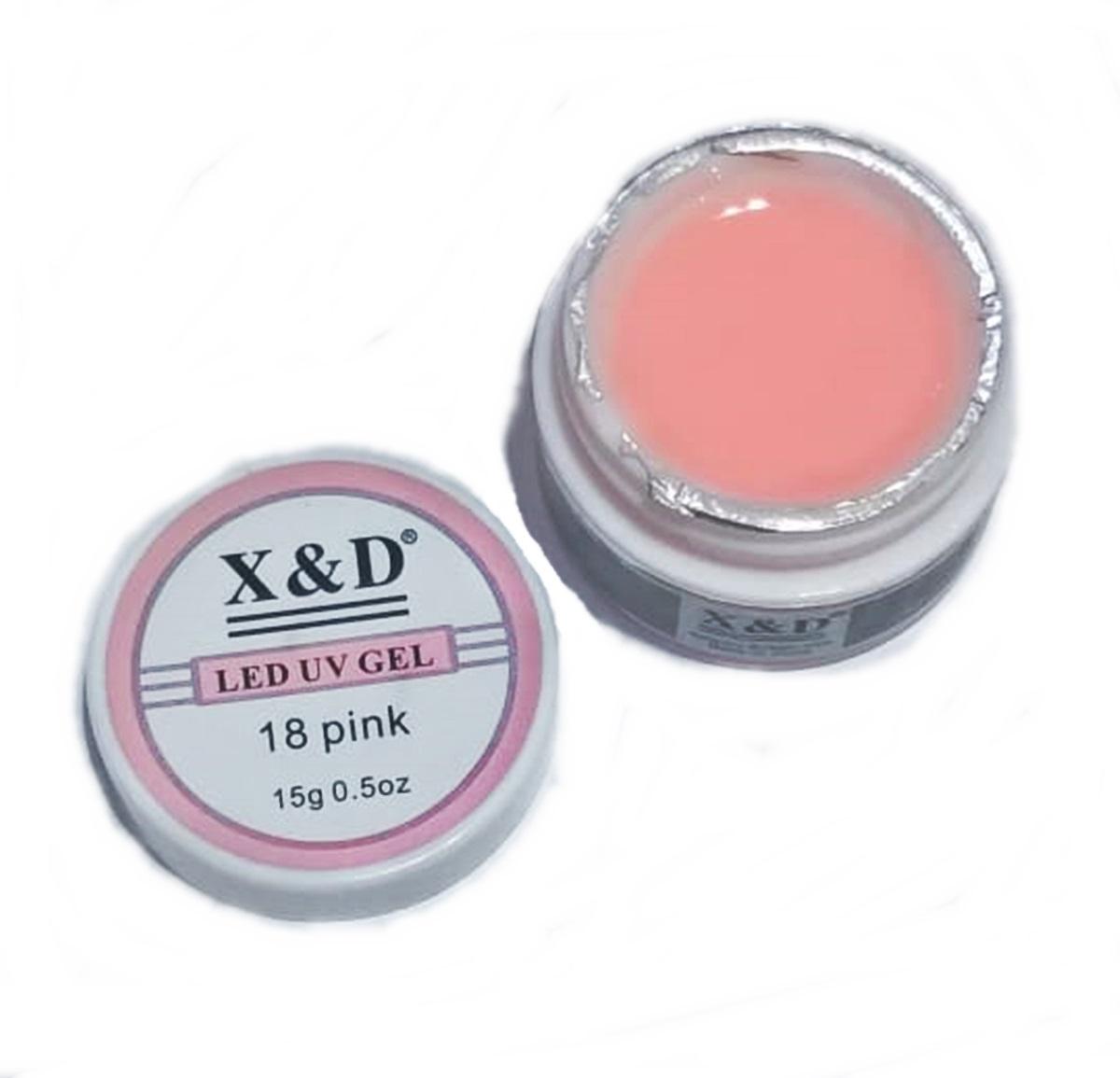 Gel Pink 18 Led Uv XeD 15gr X e D Para Unhas Gel e Acrigel X E D