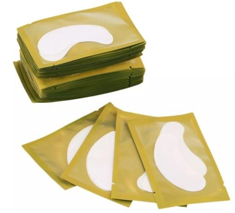 Kit 10 Pares Protetor De Palpebras Alongamento Cílios Dourado