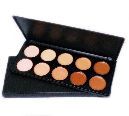 Kit 10 Pincéis Escova Oval Maquiagem + Paleta Base Corretivo 10 Cores+ Paleta Blush 10 Cores