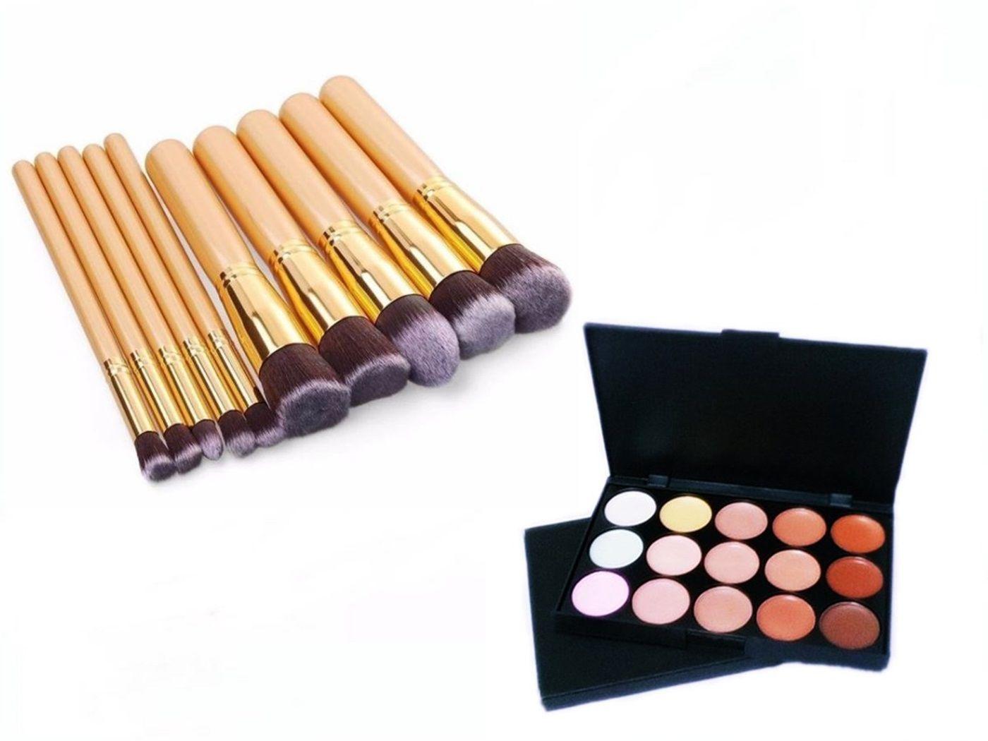 Kit 10 Pincéis Maquiagem Kabuki Dourado + Paleta Base Corretivo Com 15 Cores