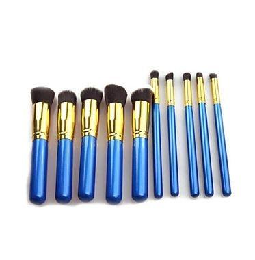 Kit 10 Pincéis Maquiagem Kabuki E Precisão Azul