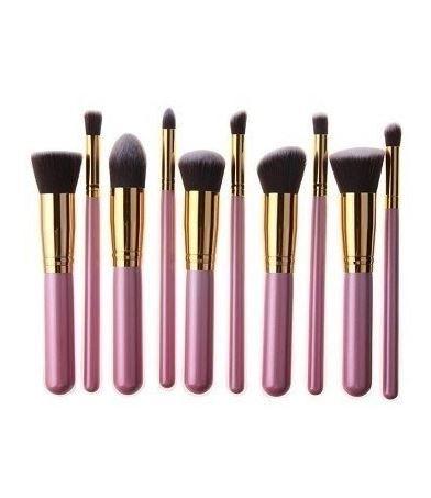 Kit 10 Pincéis Maquiagem - Kabuki E Precisão Rosa