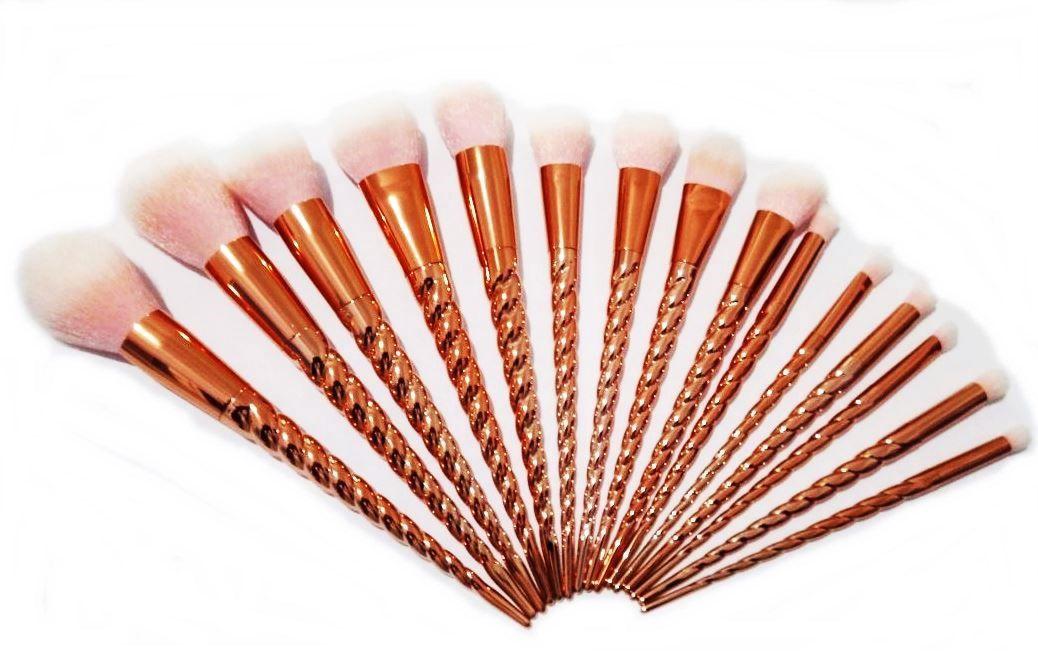 Kit 15 Pincéis De Maquiagem Unicórnio Gold Rose