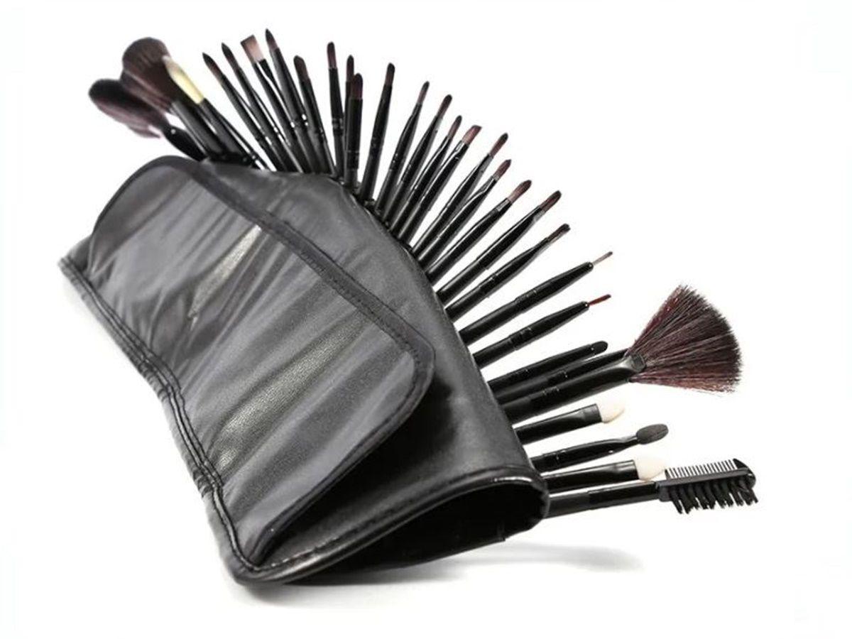 Kit 24 Pinceis De Maquiagem Profissional Com Estojo Preto