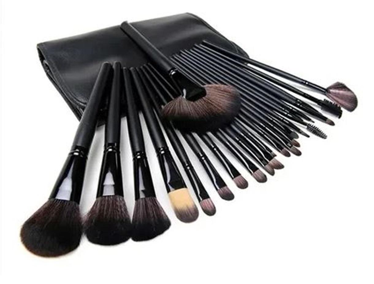 Kit 24 Pincéis De Maquiagem Profissional Com Estojo Preto