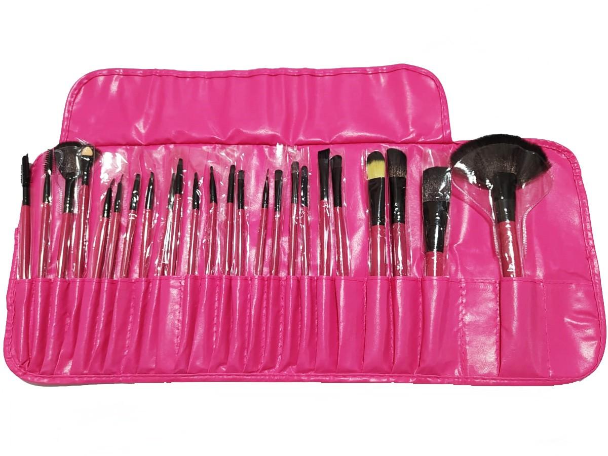 Kit 24 Pinceis De Maquiagem Profissional Com Estojo Rosa