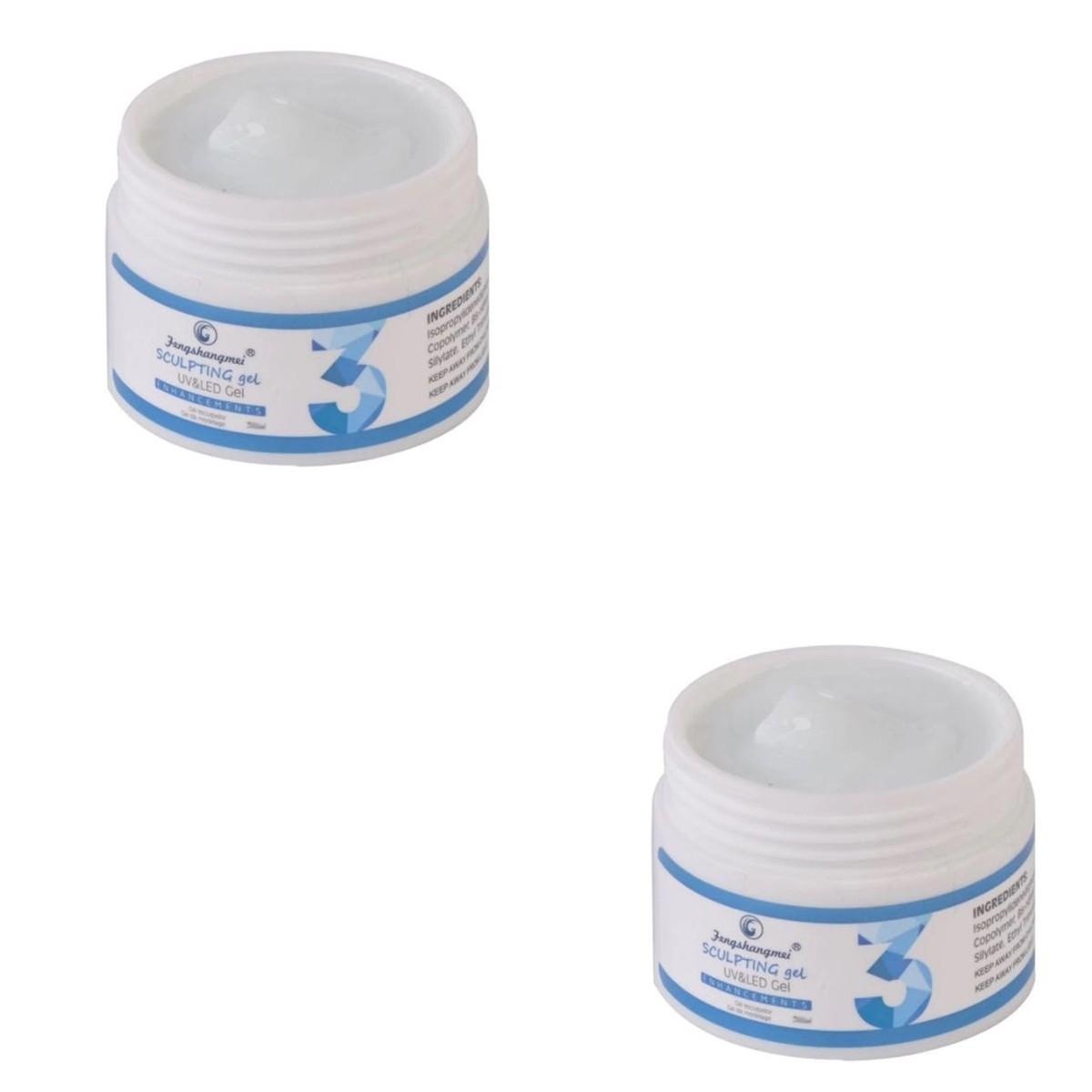 kit 2 Gel Sculpting Uv led Fengshangmei Unhas Porcelana 15ml 03 Natural
