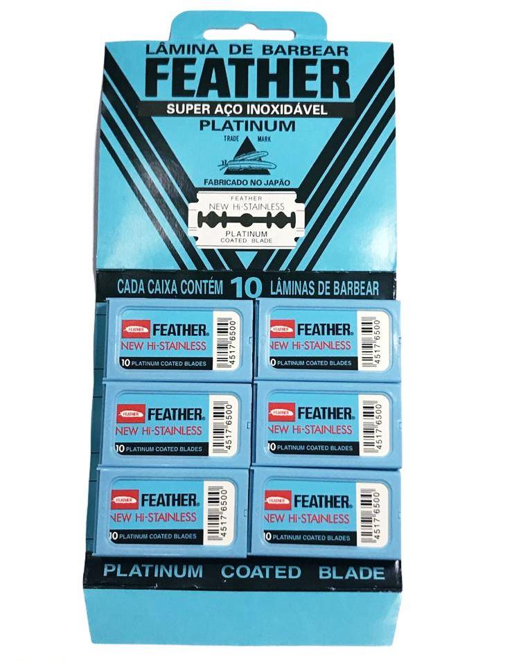 Kit 6 Caixas Lâminas De Barbear Feather Platinum Coated Blades Com 10 Cada