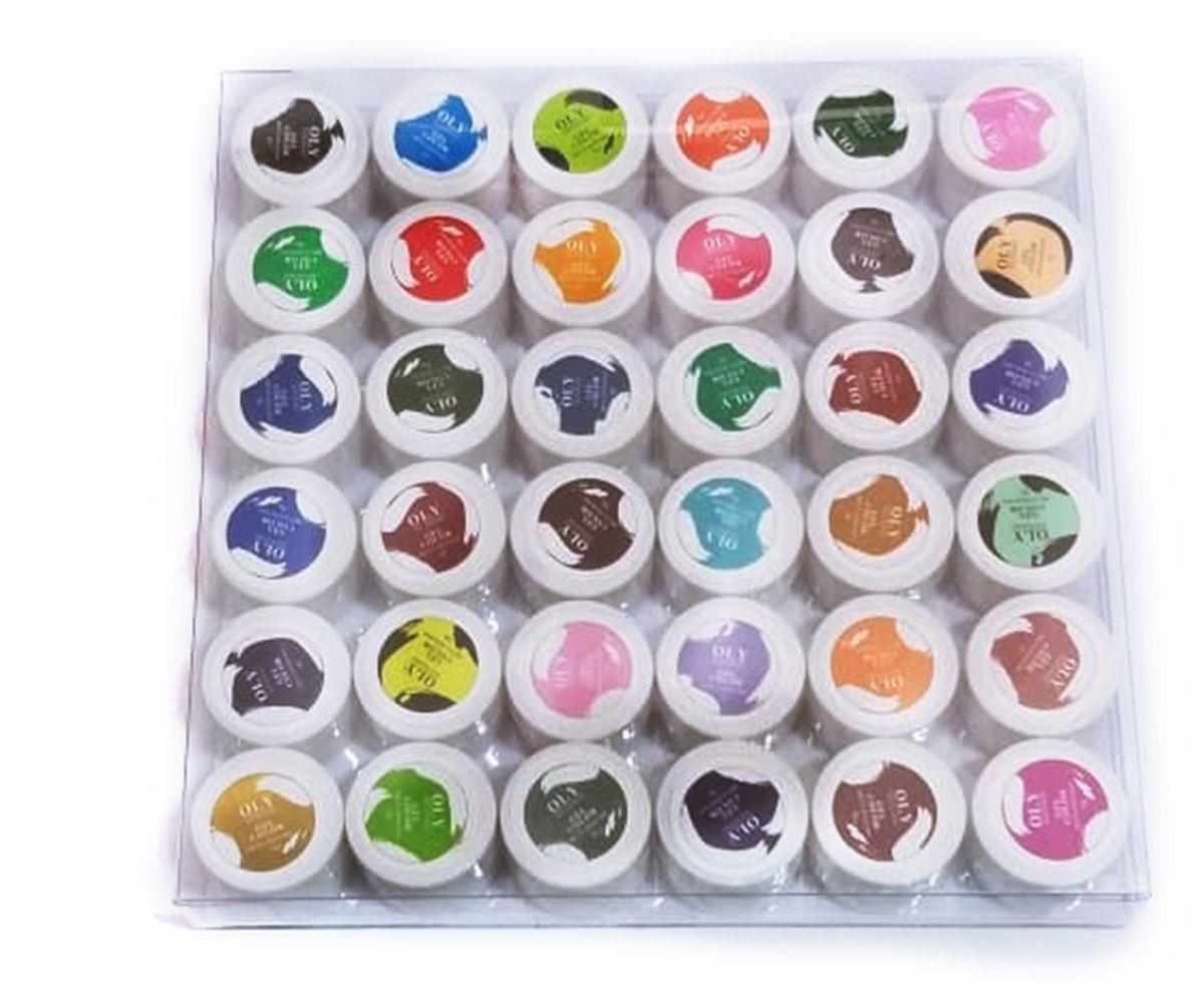 Kit Com 36 Gel Colorido Oly Para Decoração De Unhas