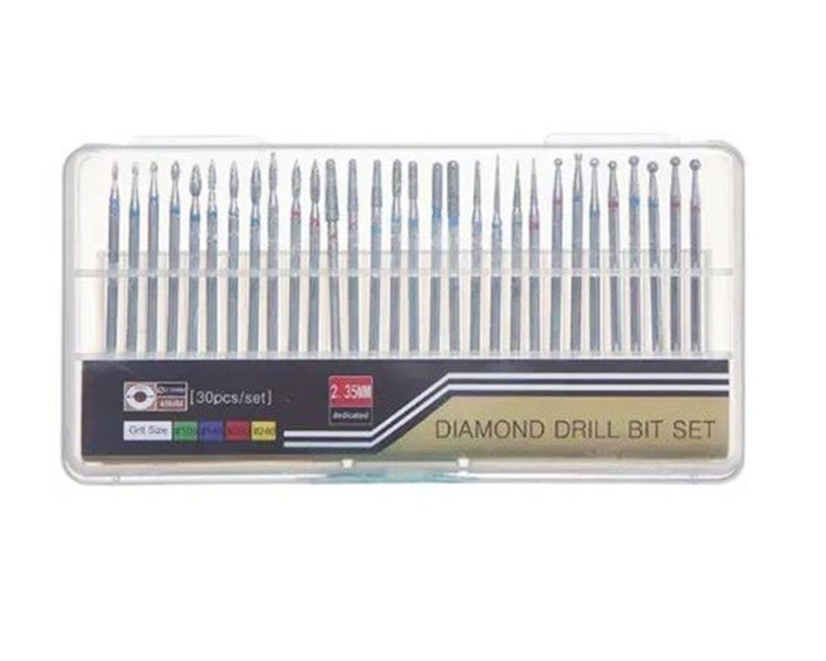 Kit De 30 Brocas Diamantadas Profissional Para Unha Acrigel