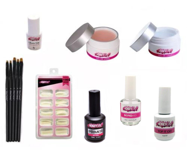 Kit Honey Girl - Gel Clear Gel Light Pink Top Coat Tips Primer Sem Ácido