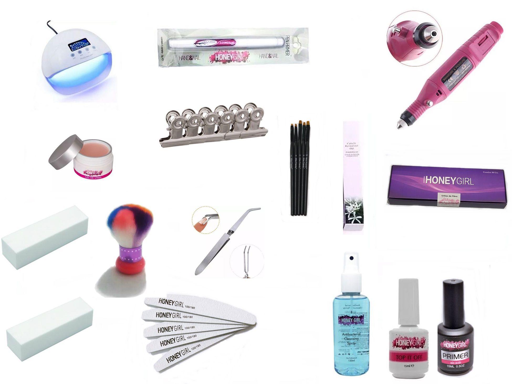 Kit Iniciante Honey Girl Unha Gel Cabine 50w Lixa Elétrica Gel Pink Light Top Coat Primer Sem Ácido Unha De Fibra