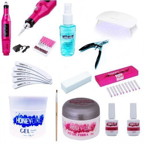 Kit Unha De Fibra Honey Girl Cabine Led Uv Lixa Portátil Top Coat Primer Gel Clear 50gr